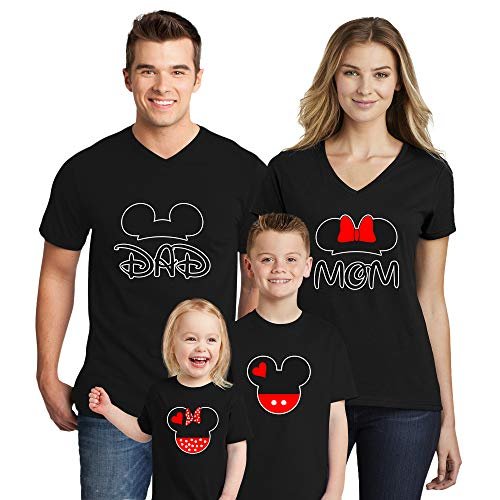 Natural Underwear Family Trip #1 Mickey Mouse Minnie Mouse Matching T Shirts Mom Design Mom Dad Boys Girls Cotton T-Shirts V Neck T Shirts Black Men X-Large