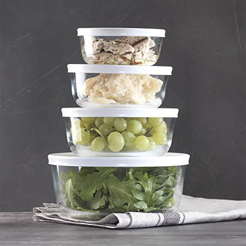 Glass Food Storage Containers with Airtight White Lids (Set of 4) (Nesting Glass)