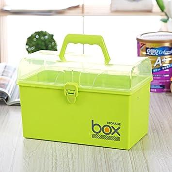 WEIAIXX Biberón Y Cómodo Maletín Cubertería Caja De Almacenamiento De Plástico Cosméticos Armario Botiquín Joyero Verde: Amazon.es: Hogar