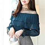 New Long Flare Sleeve Women39;s Shirt Ruffle Blouse Chiffon with Mesh Summer Kimono Tops
