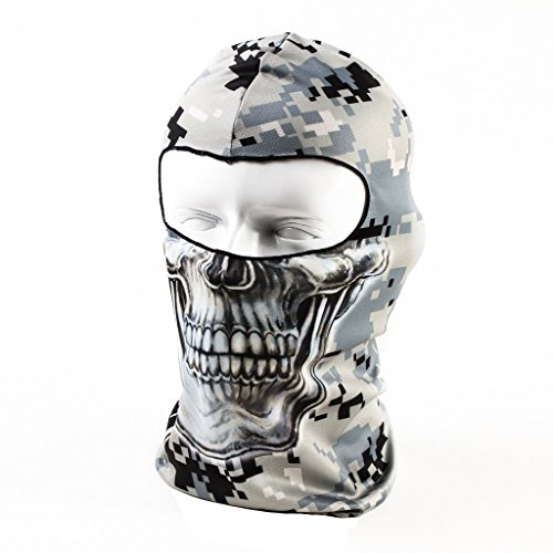 Your Choice Motorcycle Face Mask Helmet Cover Winter Cycling Skull Balaclava Bike Ear Warmers, Camo Skull
