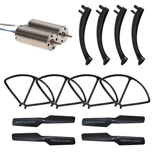 Holy Stone HS171 RC Drone Quadcopter Spare Parts Crash Pack (1 Spare Blades Set+ 4 Propeller Guards+ 4 Landing Gears + 2 Replacement Motors) by Holy Stone