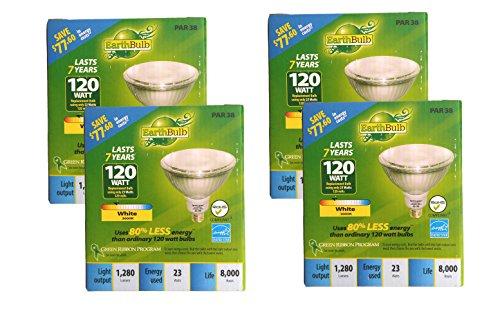 Set of 4 Earth Bulb CFL White 3000K PAR38 1280 Lumens 23 Watts Equivalent to 120 Watts Energy Saver Flood Light ()