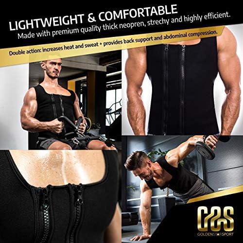 Goldenstarsport Sweat Vest for Men, Adjustable Sauna Vest for Men with Double Zipper, Workout Vest for Men, Mens Sauna Waist Trainer, Neoprene Vest Men 6