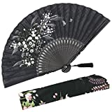 OMyTea Grassflowers 8.27''(21cm) Hand Held Folding Fans - With a Fabric Sleeve for Protection for Gifts - Chinese/Japanese Vintage Retro Style (Black)