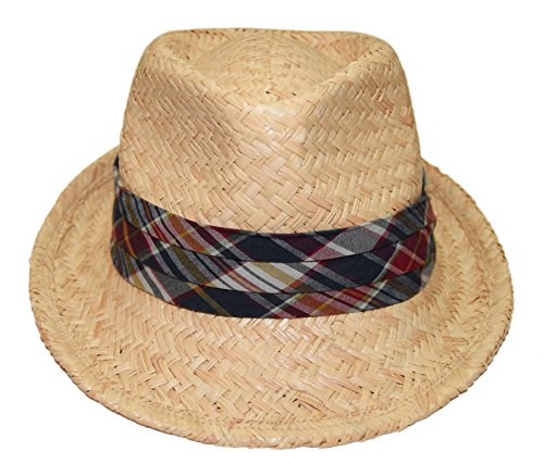 Plaid Straw Fedora - Ralph Lauren Polo Mens Natural Straw Fedora Hat Beige Navy Red Plaid Madras S/M
