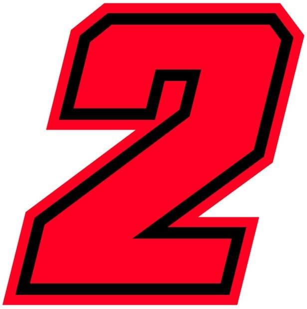 4R Quattroerre.it 13392 Racing Number 2 Moto GP Neon Red 10 x 10 cm