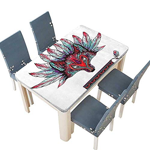 PINAFORE Tablecloth Waterproof Polyester Table Tribal Theme Doodle Wolf Ritual Mask with s Print Red and Blue Tablecloth for Wedding/Party W33.5 x L73 INCH (Elastic Edge) - Brown Wolf Vinyl Mask