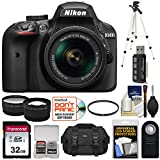 Cheap Nikon D3400 Digital SLR Camera & 18-55mm VR DX AF-P Zoom Lens (Black) with 32GB Card + Case + Tripod + Filter + Tele/Wide Lens Kit (Certified Refurbished)