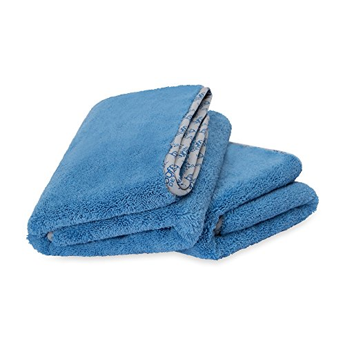 Premium Microfiber Detailing Towels | All- Purpose | Clean, Buff, Wax, Polish, Dry | Ultra Soft Cloths | Satin Piped Borders | Tagless | 550 GSM | Large 24 x 36 inch- Blue (2 Pack) (Gsm Microfiber Is What 90)