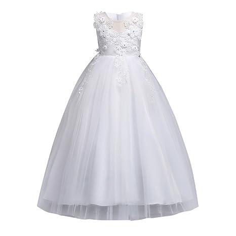 Vestido de fiesta formal 3D flor bordada sin mangas Elegancia Tull boda vestido de bautizo de