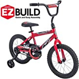 Durable,Super Comfortable Huffy 16'' Rock It EZ Build Bike,With Padded/Adjustable Seat,Easy-to-Use Coaster Brake and Wide Training Wheels,Bold Red and Black