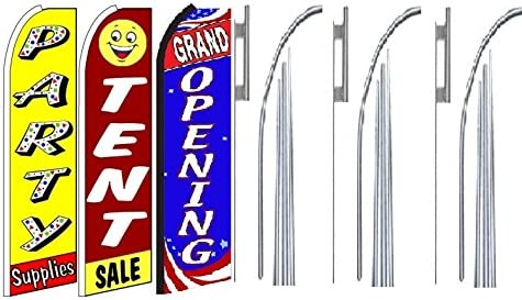party supplies tent sale Grand Opening King Swooper Feather Flag Sign Kit With Pole and Ground Spike Pack of 3