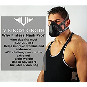 Vikingstrength Training Fitness Oxygen Mask - Workout Mask for Running Biking MMA Endurance with Adjustable Resistance, High Altitude Elevation Mask for Air Resistance Training [16 Breathing Levels]