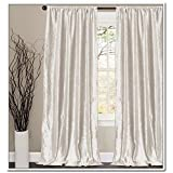 Off White Vintage Velvet Curtains 100 W by 108 H inches, NON PLEATED, Lined Drape Panel 1PC, Blackout Velvet Curtain