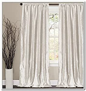Off White Thick Velvet Curtains Absolute Blackout 52 W By 96 H L 2 Panel Lined
