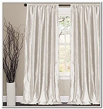 OFF WHITE Thick Velvet Curtains   Absolute Blackout 52u0026quot;W By 96u0026quot; H  L