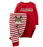 Baby Boys Girls Christmas Deer Outfits Letters Print Romper Striped Pants Set size 18-24Months (Red)