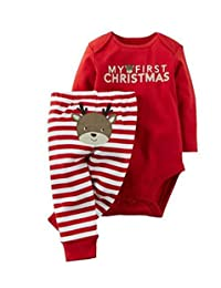 Baby Boys Girls Christmas Deer Outfits Letters Print Romper Striped Pants Set
