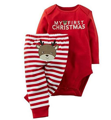 Baby Boys Girls Christmas Deer Print Long Sleeve Romper Tops Striped Pants Set Size 3-6Months/70 (Red)
