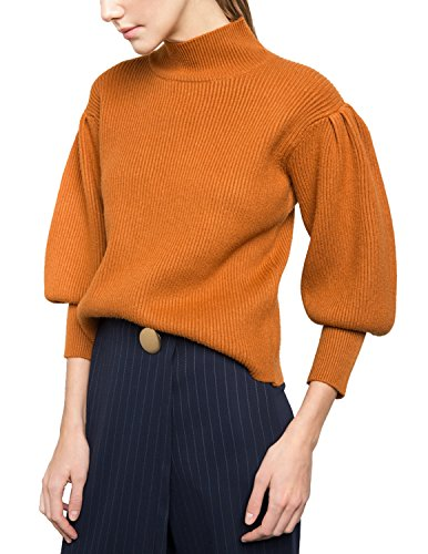 Cashmere Puff Sleeve Top (HaoDuoYi Womens Retro Puff Sleeve Mock Neck Street Pullover Sweater(S,Orange))