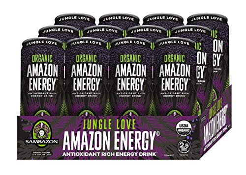 (Sambazon Amazon Energy Drink, Jungle Love Acai Berry Passionfruit, 12 Ounce (Pack of 12))