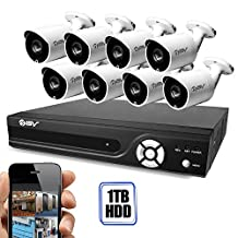 Best Vision Camera System (1TB HDD) DIY Kit, App for Smartphone Remote Monitoring (8CH+8Cameras, White)