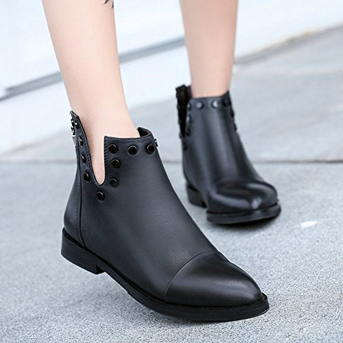 Btrada Womens Pointy Toe Martin Ankle Boots-Rivet Zip Flat British Style Motorcycle Bootie Shoes TyggfXrL