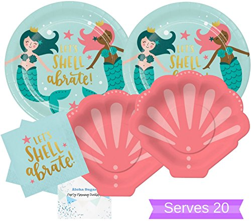 Mermaid Party Supplies - Mermaid Party Plates and Napkins for 20 People- Perfect for Birthday Party, Baby Shower, Beach Party, Bridal Shower and all Lavish Affairs! -
