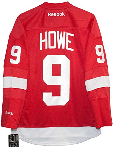 (Gordie Howe Detroit Red Wings Home Red Reebok Premier Jersey Sewn Tackle Twill Name and Number (Small))