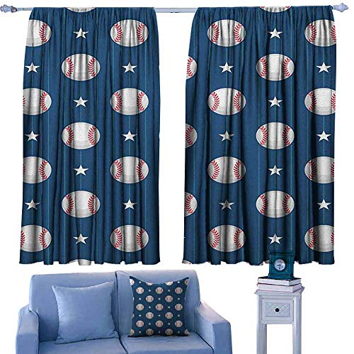 Mannwarehouse Sports Curtain for Kids Baseball Patterns on Vertical Striped Background Stars Artistic Design Privacy Protection 63