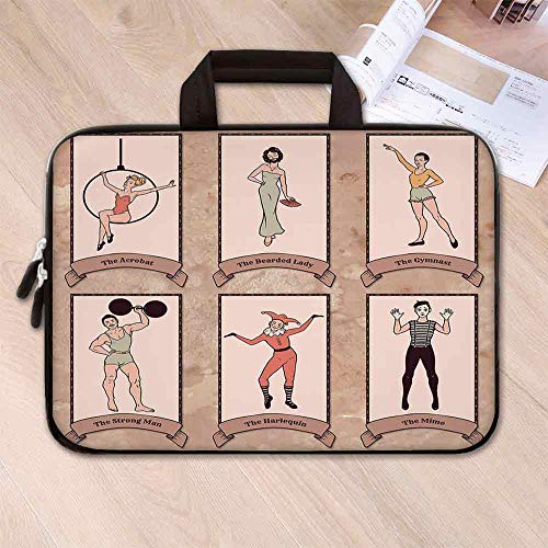 Circus Decor Wear Resisting Neoprene Laptop Bag,Vintage Circus Characters Acrobat Bearded Lady Gymnast Strong Man Harlequin Mime for Laptop Tablet PC,15.4''L x 11''W x 0.8''H
