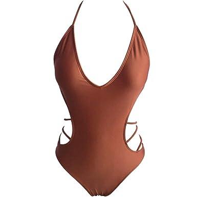 b2277b6613f5 RYTEJFES Bikinis Sexy Mujer Push Up Cuello Halter Cuello en V ...