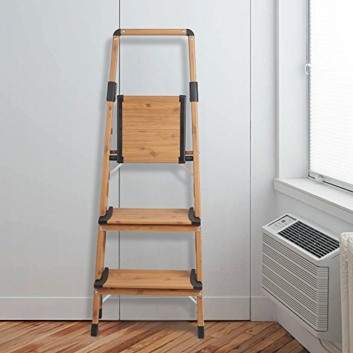 Delxo Lightweight Aluminum Woodgrain 3 Step Ladder Folding Step Stool Stepladders Home and Kitchen Step Ladder Anti-Slip Sturdy and Wide Pedal Ladders 330lbs Capacity Space Saving (3 feet) by Delxo (Image #5)