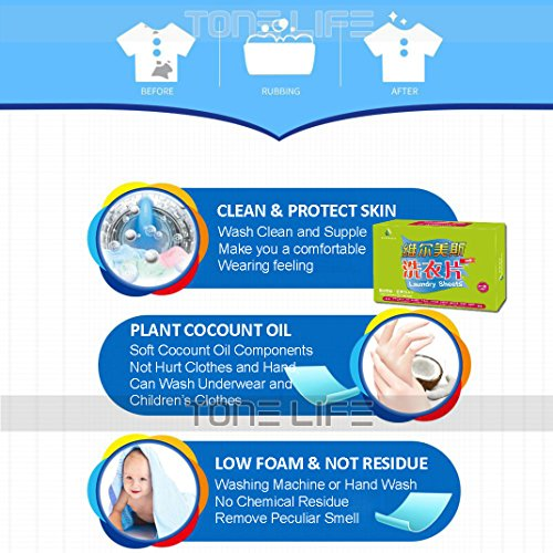 Tonelife 100 Sheets Scented Nano Technology Super Condensed Laundry Detergent Sheets 4-in-1 Laundry Pacs: Detergent, Stain Remover,Brightener.100 load Laundry Revolution by Tonelife (Image #4)