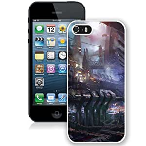 NEW Unique Custom Designed iPhone 5S Phone Case With Science Fiction City Illustration_White Phone Case