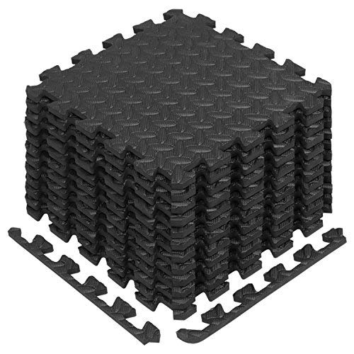 (Yes4All Interlocking Exercise Foam Mats with Border - Interlocking Floor Mats for Gym Equipment - Eva Interlocking Floor Tiles (12 Square Feet, Black))