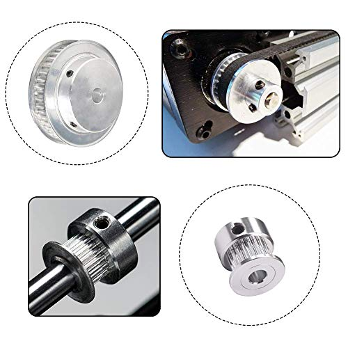 for 3D Printer 2PCS. with a Length 200mm Width 6mm Belt and a M4 Allen Wrench Houkr GT2 Aluminum Timing Belt Idler Pulley Bearing 20/&60 Teeth Width 6.35mm Born Synchronous Wheel