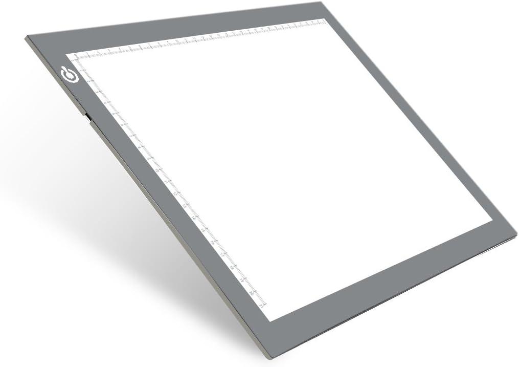 Mesa de Luz Dibujo, LED Tracing Light Pad, A4 Tableta de Luz Brillo Ajustable, Tablero de Trazado para Artistas, Dibuja, Animacion, Bocetos, Diseño
