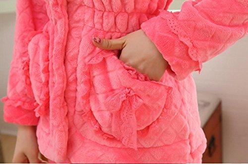 QPALZM Sra De Otoño E Invierno Pijamas De Visón Terciopelo Super Suave Ropa Interior Cómoda Y Cálida Watermelonredplush