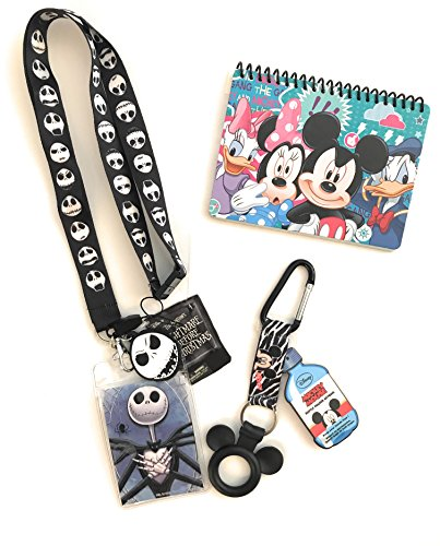 Disney Trip Bundle- Disney Jack Skellington Lanyard, Mickey Autograph Book and Mickey Bottle Holder- Vacation Essentials and (Halloween Party At Disney World 2017)