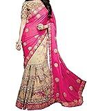 Sareeshop Georgette & Net Saree (Apsarapink-Pink Saree_Pink & Cream)