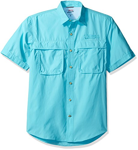 IZOD Men's Saltwater Easy Care Fishing Short Sleeve Shirt, Blue Radience, Small