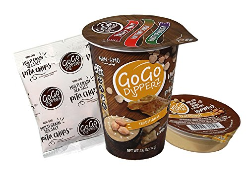 GoGo Dipperz Healthy On-the-Go Traditional Hummus and Multi-Grain Sea Salt Pita Chips - 2.6 oz Combo Packs (Case of 6)