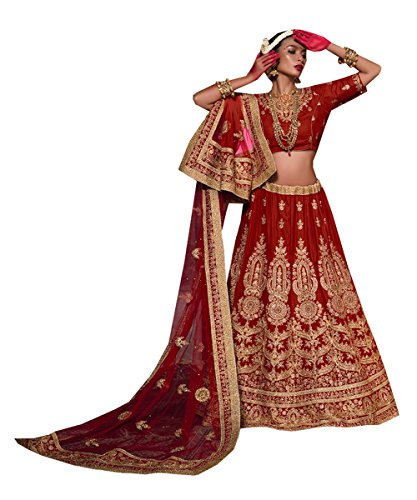 Da Facioun Womens Maroon Velvet Fabric Pretty Unstitched Lehenga Choli 83741