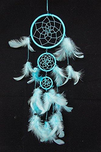 "Sky blue Dream Catcher 3 Circles 3.5"" Dia 16"" Long Feather Decoration Hanging Craft"