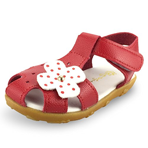SENFI Girl's Sandal Closed-Toe Leather Floral Casual Princess Flat Shoes(Toddler/Little Kid),GSF-01red-26 ()