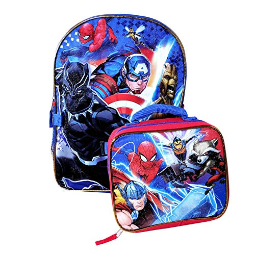 Marvel Avengers Kids Backpack and Insulated Lunch Bag Set Officially Licensed Adjustable Straps 2 Side Mesh Water Bottle Pockets Sturdy Zip Closure Captain America Spiderman Boys School Travel Tote