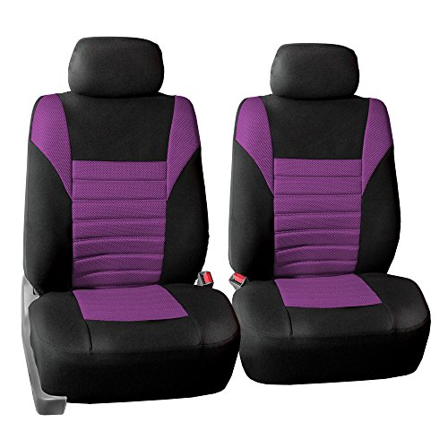 FH GROUP FH-FB068102 Premium 3D Air Mesh Seat Covers Pair Set (Airbag Compatible), Purple / Black Color- Fit Most Car, Truck, Suv, or Van