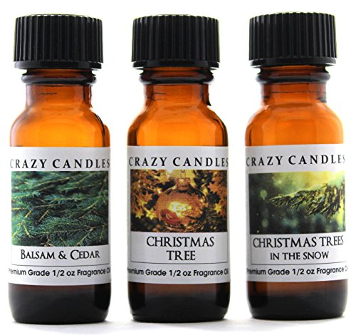 Crazy Candles 3 Bottles Set 1 Balsam & Cedar, 1 Christmas Tree, 1 Christmas Trees in the Snow 1/2 Fl Oz Each (15ml) Premium Grade Scented Fragrance Oils By